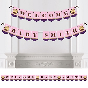 Baby Girl Teddy Bear - Personalized Baby Shower Bunting Banner & Decorations