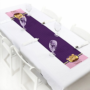 Baby Girl Teddy Bear - Personalized Baby Shower Petite Table Runner