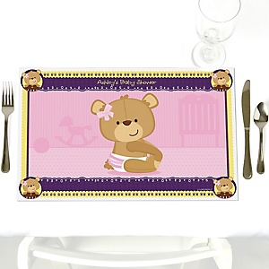 Baby Girl Teddy Bear - Personalized Baby Shower Placemats