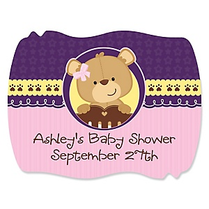Baby Girl Teddy Bear - Personalized Baby Shower Squiggle Stickers - 16 ct
