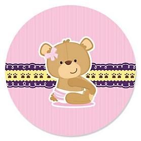 Baby Girl Teddy Bear - Baby Shower Theme