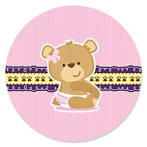 Baby Girl Teddy Bear - Baby Shower Theme