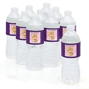 Baby Girl Teddy Bear - Personalized Baby Shower Water Bottle Sticker Labels - Set of 10