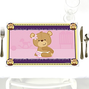 Baby Girl Teddy Bear - Party Table Decorations - Baby Shower Placemats - Set of 12