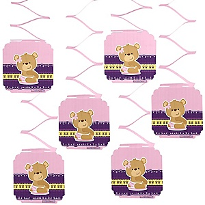 Baby Girl Teddy Bear - Baby Shower Hanging Decorations - 6 ct