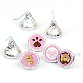 Baby Girl Teddy Bear - Round Candy Labels Baby Shower Favors - Fits Hershey's Kisses - 108 ct