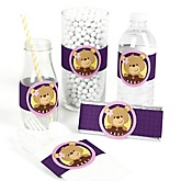 Baby Girl Teddy Bear - DIY Party Wrappers - 15 ct