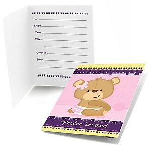 Baby Girl Teddy Bear - Fill in Baby Shower Invitations - 8 ct