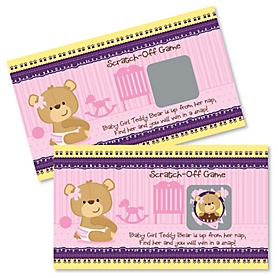 Baby Girl Teddy Bear - Baby Shower Game Scratch Off Cards - 22 ct