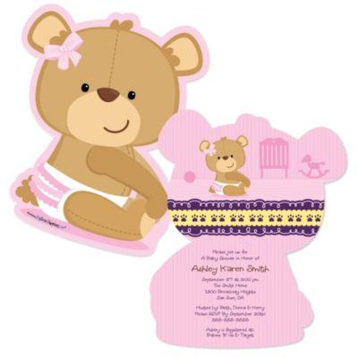 Baby Girl Teddy Bear Shaped Baby Shower Invitations