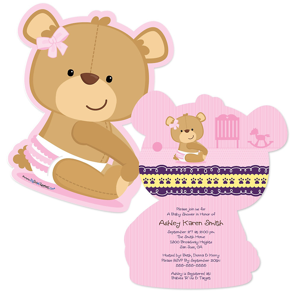 Baby Girl Teddy Bear - Shaped Baby Shower Invitations ...