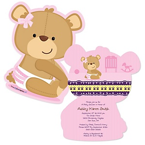 Baby Girl Teddy Bear - Shaped Baby Shower Invitations - Set of 12
