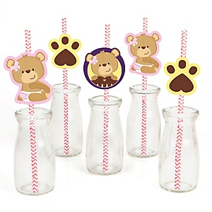 Baby Girl Teddy Bear - Paper Straw Decor - Baby Shower or Birthday Party Striped Decorative Straws - Set of 24