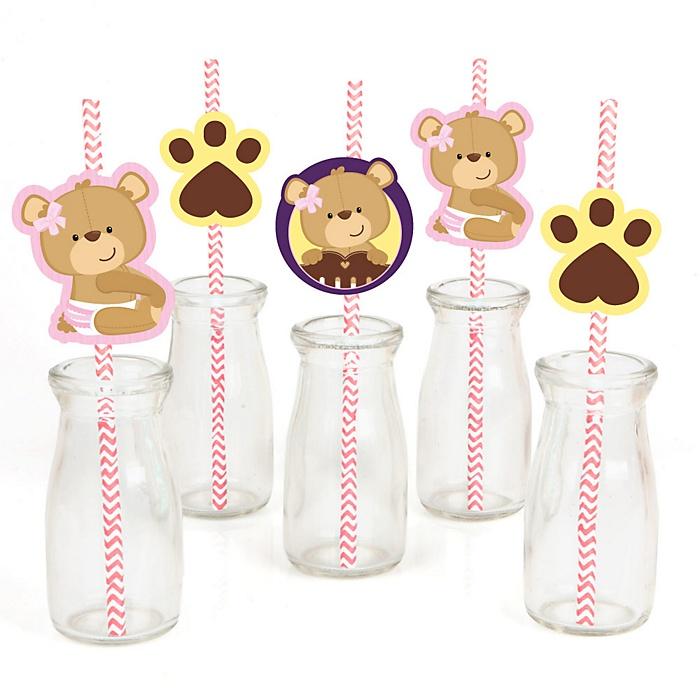 Baby Girl Teddy Bear - Paper Straw Decor - Baby Shower or Birthday Party Striped Decorative Straws - Set of 24