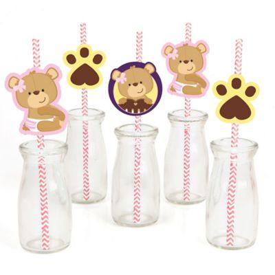 Baby Girl Teddy Bear   Paper Straw Decor   Baby Shower Or Birthday Party  Striped Decorative Straws   Set Of 24