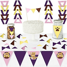 Baby Girl Teddy Bear - DIY Pennant Banner Decorations - Baby Shower Triangle Kit - 99 Pieces