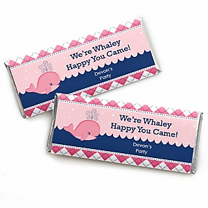 Tale Of A Girl Whale - Personalized Candy Bar Wrapper Baby Shower or Birthday Party Favors - Set of 24