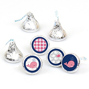 Tale Of A Girl Whale - Round Candy Labels Party Favors - Fits Hershey's Kisses - 108 ct
