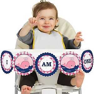 Tale Of A Girl Whale 1st Birthday - I am One - First Birthday High Chair Banner