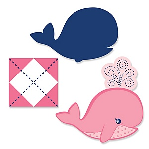 Tale Of A Girl Whale - DIY Shaped Party Paper Cut-Outs - 24 ct