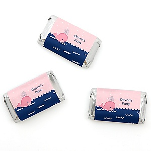 Tale Of A Girl Whale - Personalized Party Mini Candy Bar Wrapper Favors - 20 ct