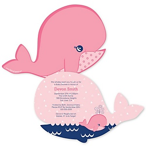Tale Of A Girl Whale - Shaped Baby Shower Invitations - Set of 12
