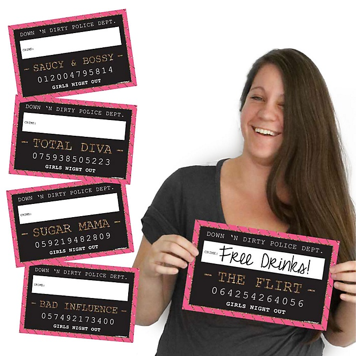 Girls Night Out Mug Shots - 10 Piece Photo Booth Props Kit