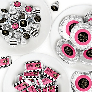 Girls Night Out - Mini Candy Bar Wrappers, Round Candy Stickers and Circle Stickers - Bachelorette Party Candy Sticker Favor Kit - 304 Pieces