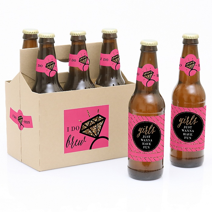 Girls Night Out - Bachelorette Party - Decorations for Women and Men - 6 Beer Bottle Label Stickers and 1 Carrier
