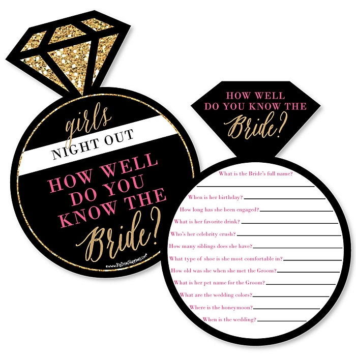 Girls Night Out - Bachelorette Party Game - How Well Do You Know The Bride Game - Set of 20