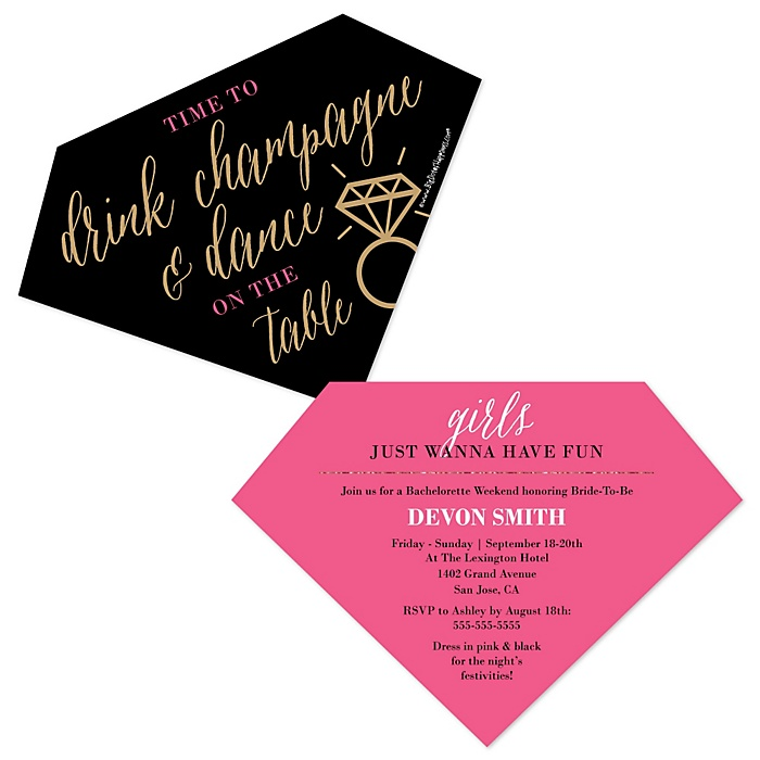 Girls Night Out - Shaped Bachelorette Party Invitations - Set of 12