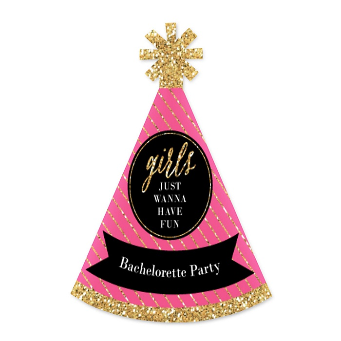Girls Night Out - Personalized Mini Cone Bachelorette Party Hats - Small Little Party Hats - Set of 10