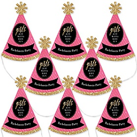 Girls Night Out - Mini Cone Bachelorette Party Hats - Small Little Party Hats - Set of 8