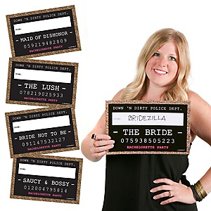 Girls Night Out Party Mug Shots - 20 Piece Photo Booth Props Kit