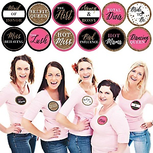 Bachelorette Party Name Tags - Girls Night Out Badges - Party Badges Sticker Set of 12