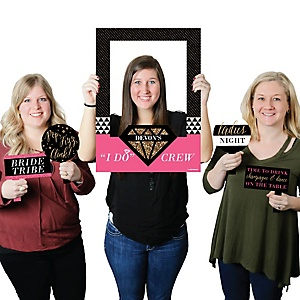 Girls Night Out - Personalized Bachelorette Selfie Photo Booth Picture Frame & Props - Printed on Sturdy Material