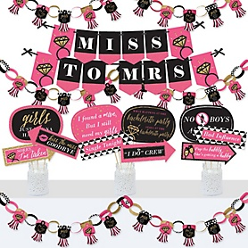 Girls Night Out - Banner and Photo Booth Decorations - Bachelorette Party Supplies Kit - Doterrific Bundle