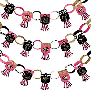 Girls Night Out - 90 Chain Links and 30 Paper Tassels Decoration Kit - Bachelorette Party Paper Chains Garland - 21 feet