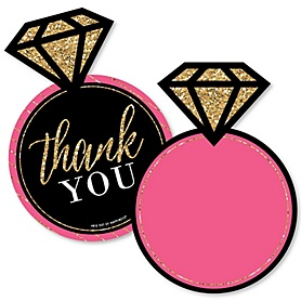 Girls Night Out - Shaped Thank You Cards - Bachelorette Party Thank You Note Cards with Envelopes - Set of 12