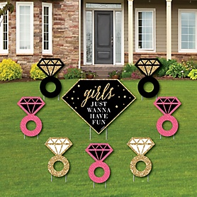 Girls Night Out - Yard Sign & Outdoor Lawn Decorations - Bachelorette Party Yard Signs - Set of 8
