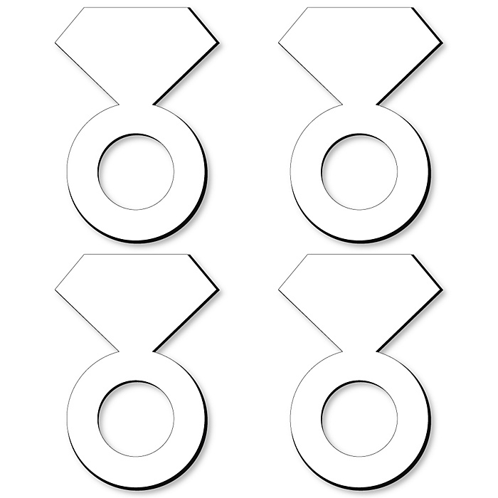 Diamond Ring Foam Board - Shaped DIY Craft Supplies for Resin and Painting - Bridal Shower, Wedding and Bachelorette Party Blank Foam Board - 4 Piece