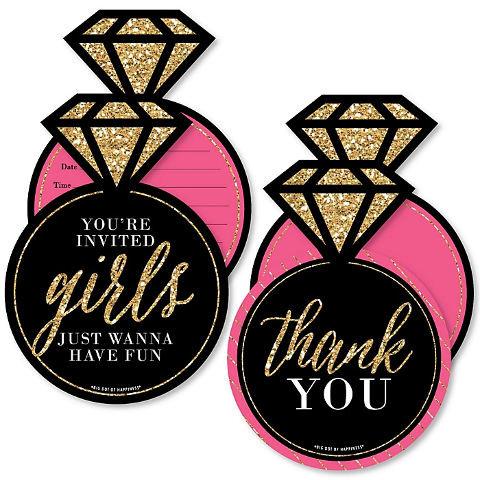 Girls Night Out - 20 Shaped Fill-In Invitations and 20 Shaped Thank You Cards Kit - Bachelorette Party Stationery Kit - 40 Pack