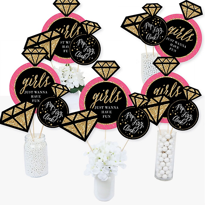 Girls Night Out - Bachelorette Party Centerpiece Sticks - Table Toppers - Set of 15