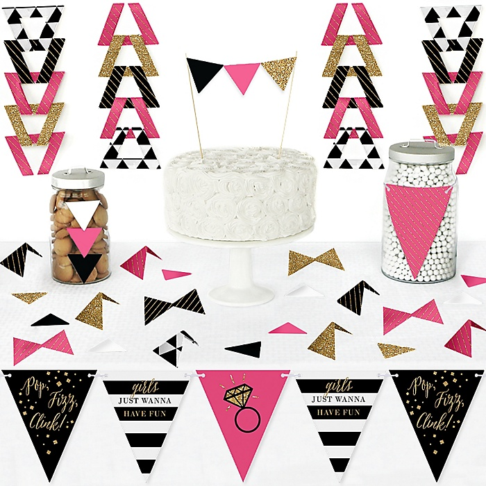 Girls Night Out - DIY Pennant Banner Decorations - Bachelorette Party Triangle Kit - 99 Pieces