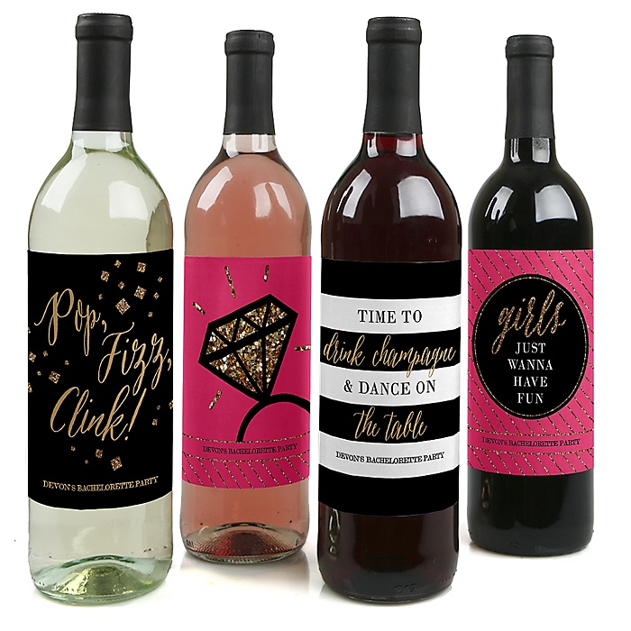 Girls Night Out - Bachelorette Party Wine Bottle Label Stickers - Set of 4