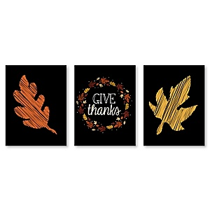 Give Thanks - Fall Leaves Wall Art and Thanksgiving Decor - 7.5 x 10 inches - Set of 3 Prints