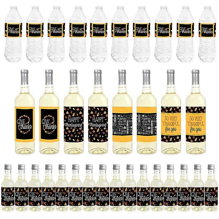 Give Thanks - Mini Wine Bottle Labels, Wine Bottle Labels and Water Bottle Labels - Thanksgiving Party Decorations - Beverage Bar Kit - 34 Pieces