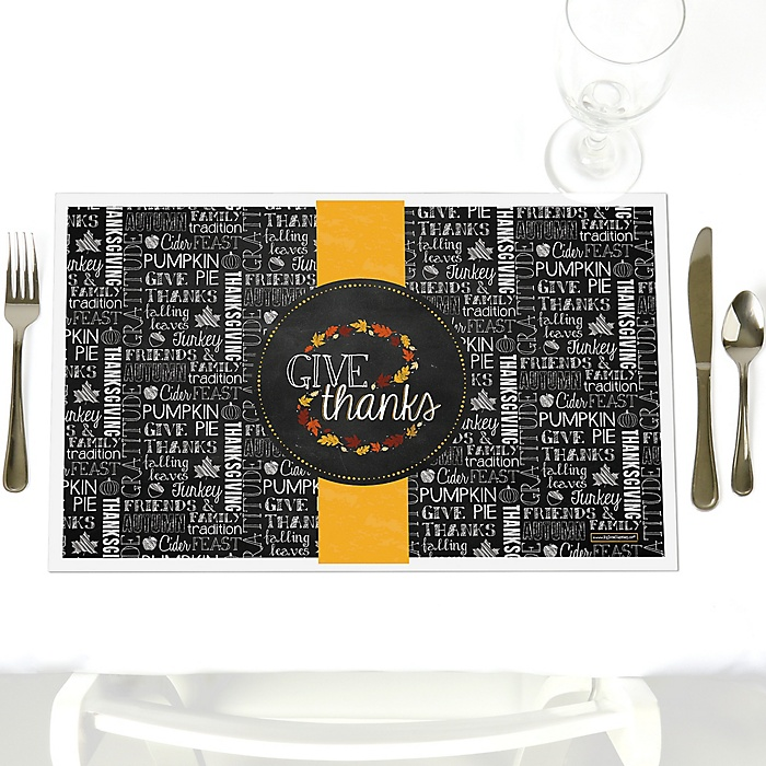 Give Thanks - Party Table Decorations - Thanksgiving Party Placemats - Set of 12