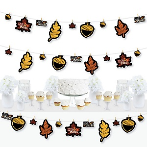 Give Thanks - Thanksgiving Party DIY Decorations - Clothespin Garland Banner - 44 Pieces