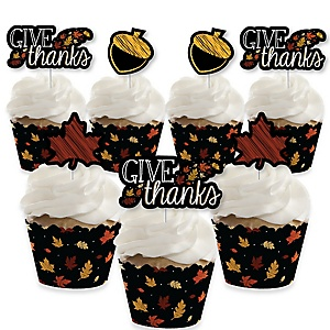 Give Thanks - Cupcake Decorations - Thanksgiving Party Cupcake Wrappers and Treat Picks Kit - Set of 24